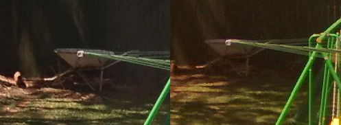 Cropped detail. iP4S on left, 920 on right. Look at the wheelbarrow - the iP4S gives the better image.